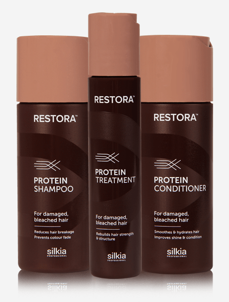 Restora Treatment Set has everything you need for healthy and moisturised hair. It contains the Restora Protein Shampoo, Restora Protein Treatment and Restora Protein Conditioner.